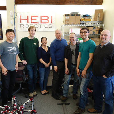 Dave Rollinson (3rd from right) & the HEBI Robotics team, Pittsburgh, PA, Oberlin, OH